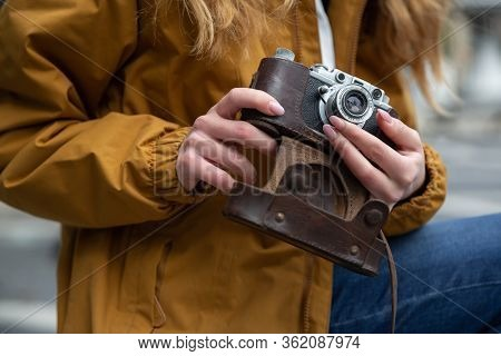 Photo Of Young Tourist Girl Exploring Streets Of Baku. Moody Photos Of Teenager Girl Visiting Old Ci
