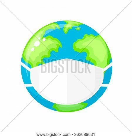 Planet Earth With Face Mask Protect. Environmental Pollution Concept. Fine Dust, Air Pollution, Indu