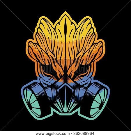 Gas Mask Monster Wood Colorful Vector Illustration For Your Company Or Brand