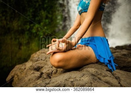 Lotus Pose. Close Up Gyan Mudra. Outdoor Yoga. Young Woman Sitting On Sand, Meditating, Practicing Y