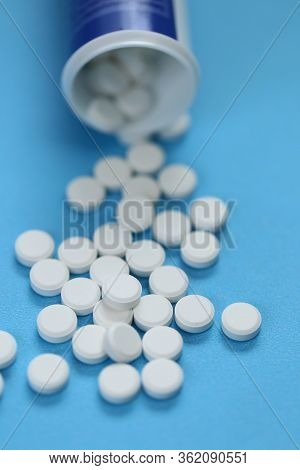 White Pills Close-up. Cold And Flu.treatment And Prevention Of Viral Diseases. Medicine And Health C