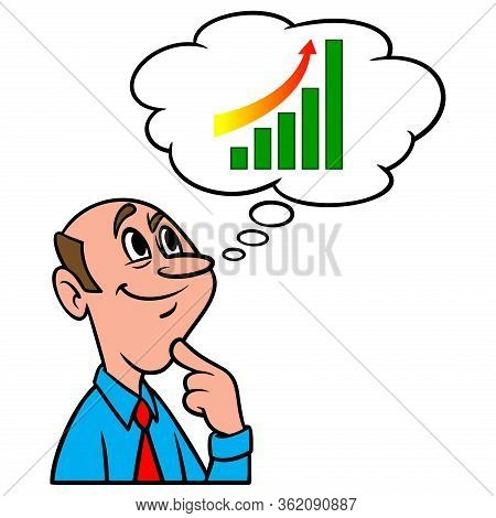 Thinking About Stock Market Gains - A Cartoon Illustration Of A Man Thinking About Stock Market Gain
