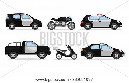 Police Vehicles With Patrol Car And Motorcycle Vector Set