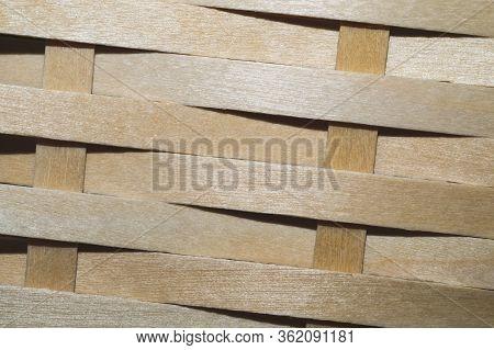 Wooden Weaving Background. Wood Wickerwork Texture Close Up
