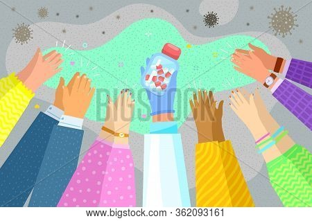 Concept Of Found An Effective Remedy, A Vaccine Against The Disease. Hand In Blue Latex Glove Holds