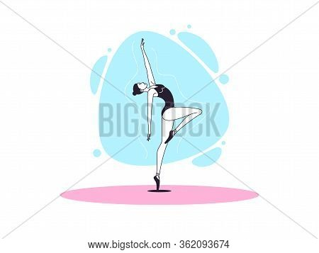 Graceful Ballerina Woman In Outline Minimalist Style. Ballet Dancer Stands On One Leg, Bends Back An
