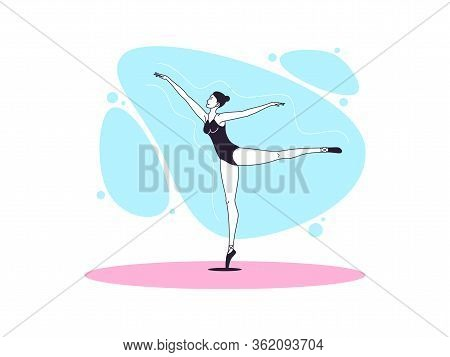 Graceful Ballerina Woman In Outline Minimalist Style. Ballet Dancer Stands On One Leg, Casts Away Se