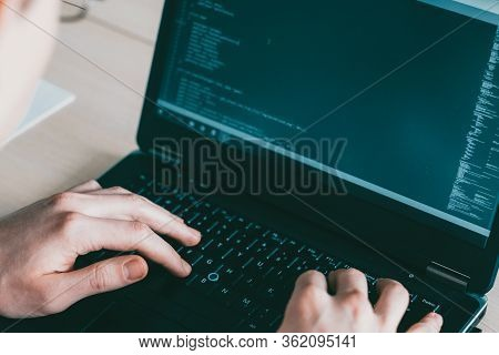 Software Engineering. Computer Science. Male Developer Writing Code On Laptop.