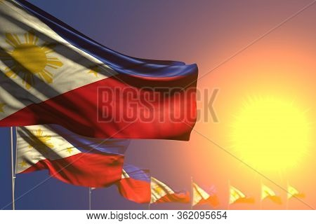 Beautiful Any Feast Flag 3d Illustration  - Many Philippines Flags On Sunset Placed Diagonal With So