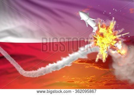 Poland Intercepted Nuclear Missile, Modern Antirocket Destroys Enemy Missile Concept, Military Indus