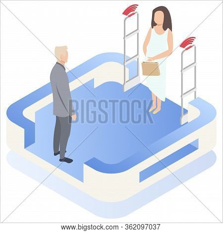 Isometric. Vector Illustration, Woman Goes Through Anti-theft Sensor Gates. Security System Detect B