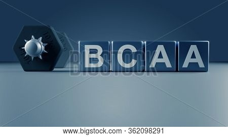 Blocks With The Letters Bcaa And A Dumbbell On A Blue Background With Space For Text Or Your Product