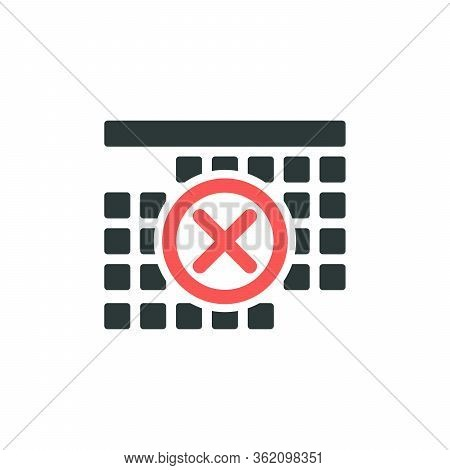 Carantine Covid-19 Calendar Icon. Stay Home Icon. Calendar Page Time Management Icon With Cross. Day