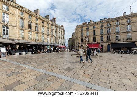 Bordeaux, France - September 9, 2018: Parliament Square Or Place Du Parlement . Historic Square Feat