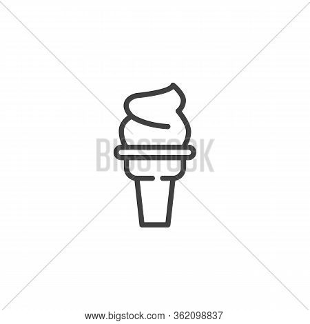 Sundae Ice Cream Line Icon. Linear Style Sign For Mobile Concept And Web Design. Ice Cream Cone Outl