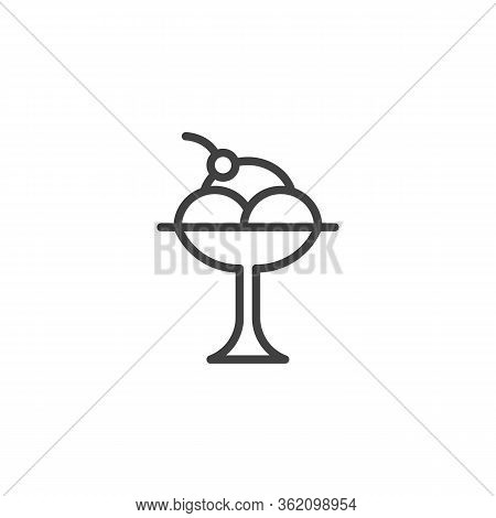 Sundae Ice Cream Line Icon. Linear Style Sign For Mobile Concept And Web Design. Whipped Ice Cream D