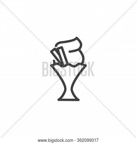 Vanilla Ice Cream Line Icon. Linear Style Sign For Mobile Concept And Web Design. Sundae Ice Cream O