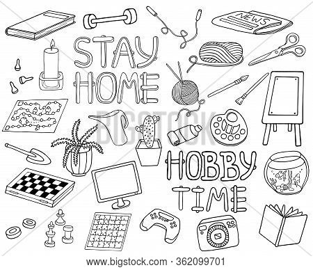 Outline Doodle Hobbies Set. Stay Home Concept. Top Table And Video Games, Painting, Reading, Sport,