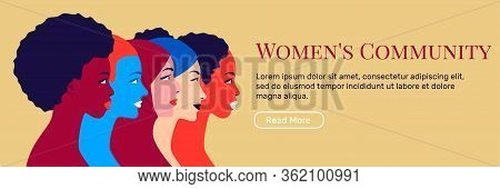 Multinational Sisterhood Community. Young Multi Ethnic Women In Profile. Concept For Social Campaign