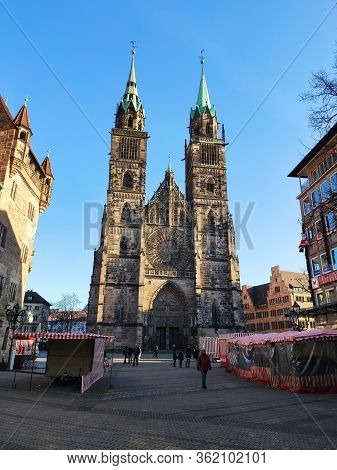 Nuremberg, Germany - January 01, 2020: Church Sankt Lorenz, View From Shopping Street Karolinenstras