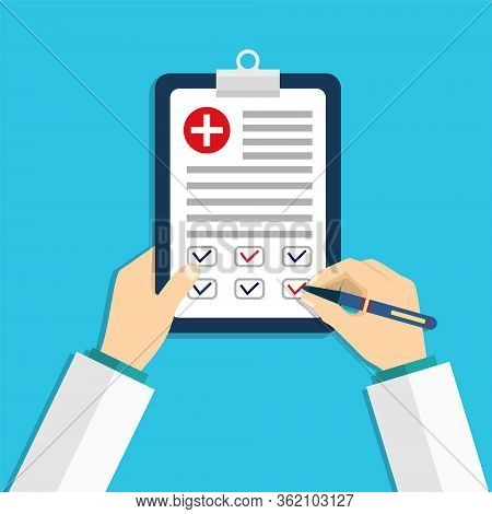 Medical Board With Clip. Doctor Hold In Hand Clipboard With Clinic Report. Document Of Patient Check