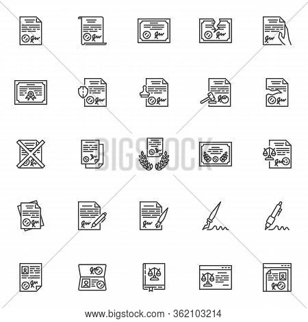 Legal Documents Line Icons Set. Linear Style Symbols Collection, Outline Signs Pack. Vector Graphics