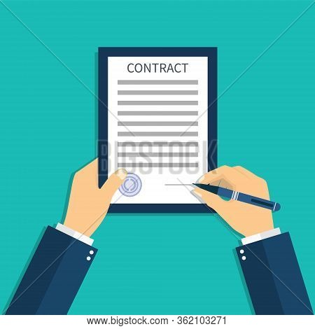 Contract Document In Hand. Sign Agreement. Hold Insurance License. Writing Legal, Business, Medical