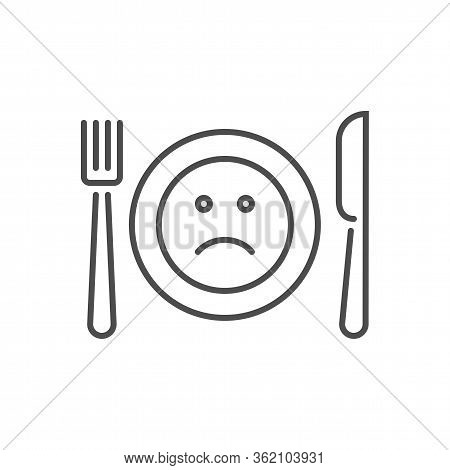 Loss Of Appetite Related Vector Thin Line Icon. Cutlery - Knife, Fork And Plate. On A Plate A Sad Sm