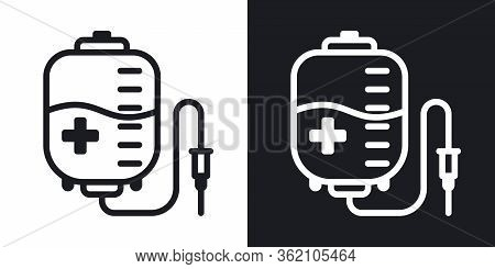 Blood Donation Concept, Donor Blood Bag Icon. Simple Two-tone Vector Illustration On Black And White