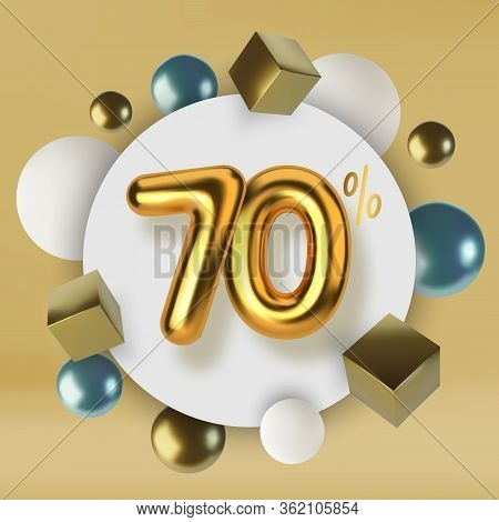 70 Off Discount Promotion Sale Made Of 3d Gold Text. Number In The Form Of Golden Balloons.realistic