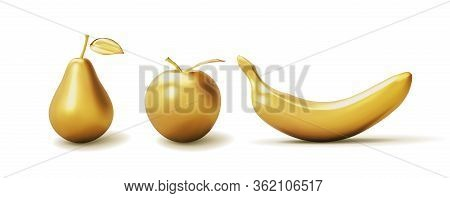 Set Realistic Golden Banana, Apple And Pear Isolated On White Background. 3d Template For Products,