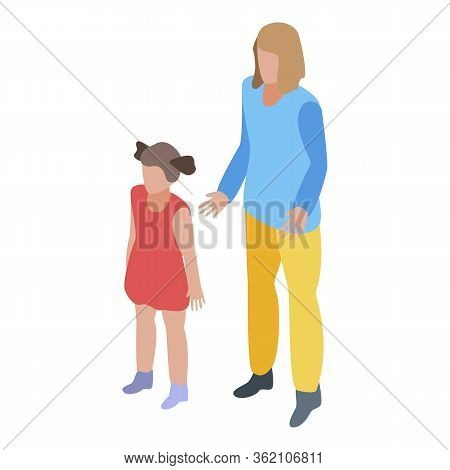 Caregiver Kids Icon. Isometric Of Caregiver Kids Vector Icon For Web Design Isolated On White Backgr