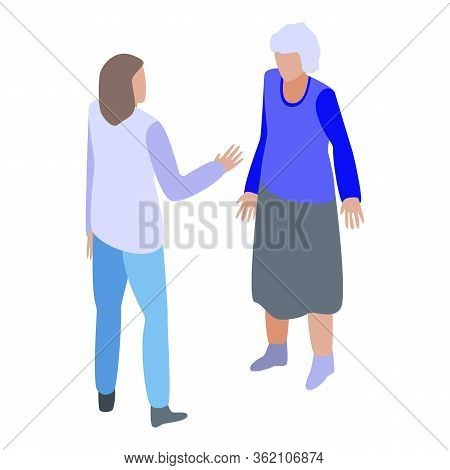 Take Care Grandma Icon. Isometric Of Take Care Grandma Vector Icon For Web Design Isolated On White