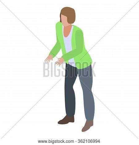 Woman Need Help Icon. Isometric Of Woman Need Help Vector Icon For Web Design Isolated On White Back