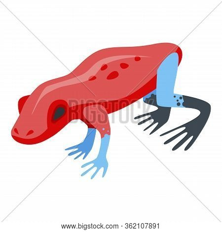 Red Frog Icon. Isometric Of Red Frog Vector Icon For Web Design Isolated On White Background
