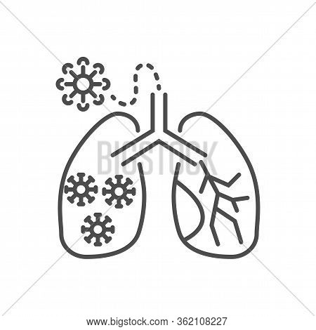 Lungs Infection Related Vector Thin Line Icon. Lungs With Infection Inside. Isolated On White Backgr