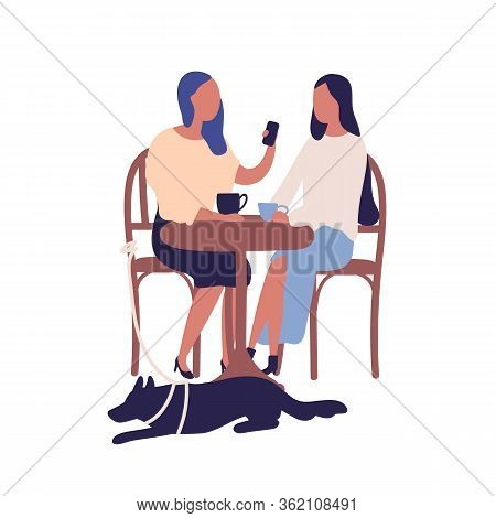 Two Cartoon Girl Friend Sit At Table In Cafe Talk Use Smartphone Together Vector Flat Illustration.