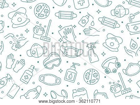 Disinfection Seamless Pattern. Vector Background Included Line Icons As Aerosol, Sanitizer, Wet Clea