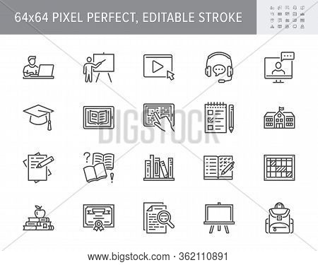 Online Education Line Icons. Vector Illustration Included Icon As Internet, Video, Audio Personal St