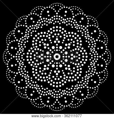 Mandala Bohemian Vector Dot Painting Vector Design, Aboriginal White Traditional Decorative Pattern,