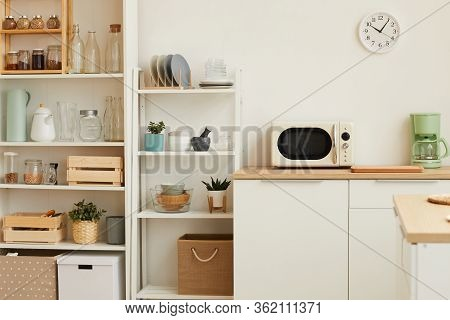 Warm Toned Background Image Of White Kitchen Interior With Minimal Design And Wooden Decor, Copy Spa