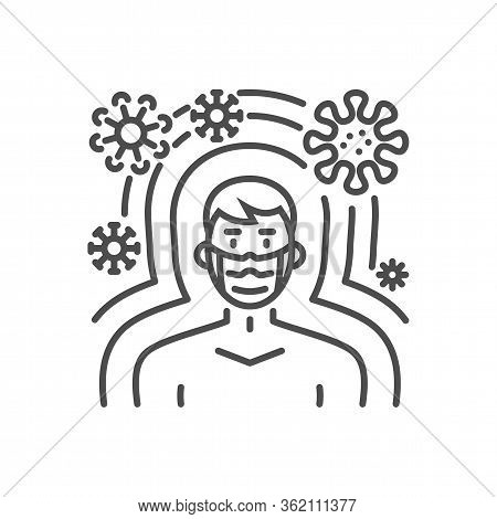 Immunity Related Vector Thin Line Icon. Man With Medical Mask Protected From Virus Immunity. Isolate