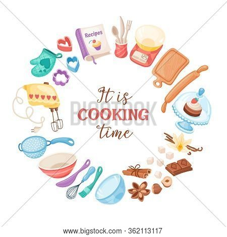 Cooking Time Banner. Baking Utensils Circle Composition Isolated On White Background. Poster With Ca