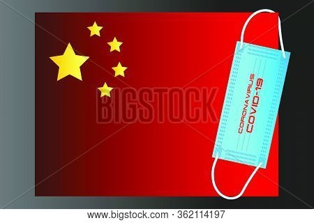 China Flag With Vector Illustration Of Disposable Mask And Covid-19 Inscription
