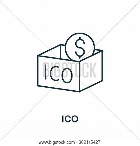 Ico Icon. Creative Simple Symbol From Fintech Collection. Line Ico Icon For Templates, Web Design An