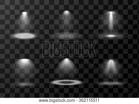 Set Of Vector Light Sources Isolated On Transparent Background. Scene Light Sources Collection. Desi