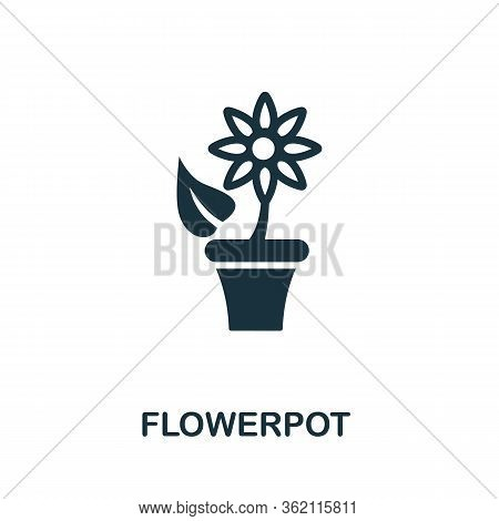 Flowerpot Icon. Simple Illustration From Furniture Collection. Creative Flowerpot Icon For Web Desig
