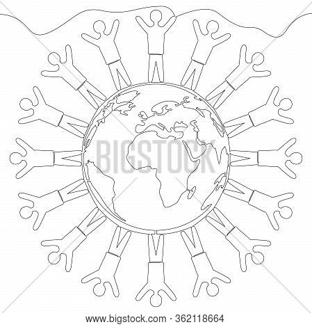 Continuous One Single Line Drawing Planet Multinational Society Icon Vector Illustration Concept