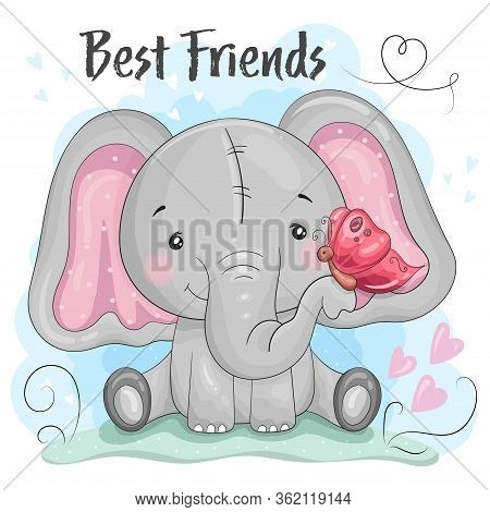 Greeting Card Cute Cartoon Elephant With Butterfly. Good For Greeting Cards, Invitations, Decoration