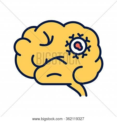 Brain Cancer Line Color Icon. Malignant Neoplasm. Oncology.pictogram For Web Page, Mobile App, Promo